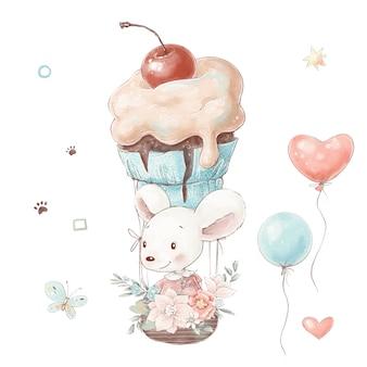 花とケーキの風船が付いているバスケットのかわいい漫画のマウスのセットです。