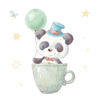 カップのかわいい漫画パンダのセットです。水彩イラスト。