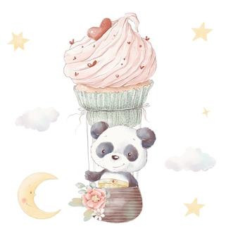 귀여운 만화 팬더 세트입니다. 수채화 그림입니다.