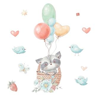 Набор милый мультяшный енот летит на воздушном шаре с цветами.