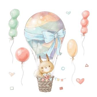 熱気球のかわいい漫画リスのセットが飛ぶ。