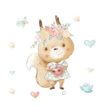 사과와 꽃, 새와 나비가 있는 귀여운 만화 다람쥐 세트.
