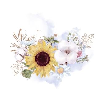 かわいいひまわりの花の枝と葉のセットです。水彩イラスト