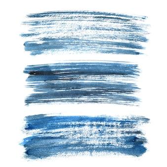 흰색 배경에 분리된 청록색 잉크 브러시 획의 집합입니다.