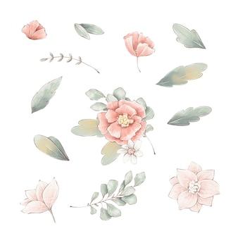 Набор нежных весенних цветов листьев и ветвей.