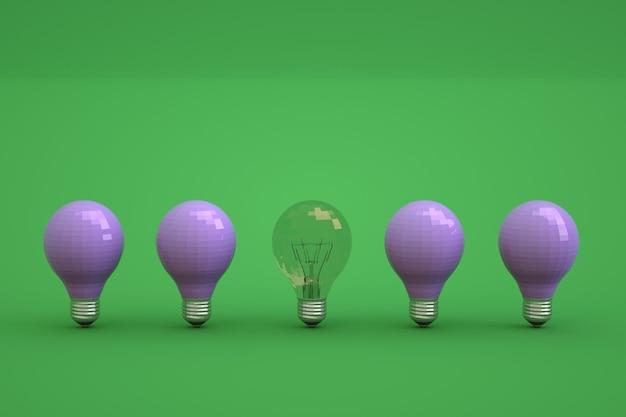 緑の孤立した背景にさまざまな電球のセットです。他の青い電球の中で1つの透明な電球。孤立した背景の消灯電球、電球のセット。閉じる。