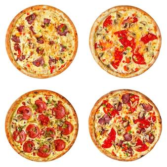 Набор различных пицц коллаж, изолированные на белом фоне