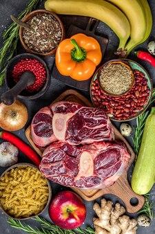 健康的な食事のためのさまざまな製品のセット
