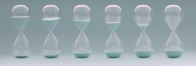 다양한 상태의 모래 시계 세트