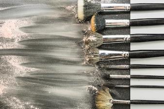 Set of dirty makeup brushes