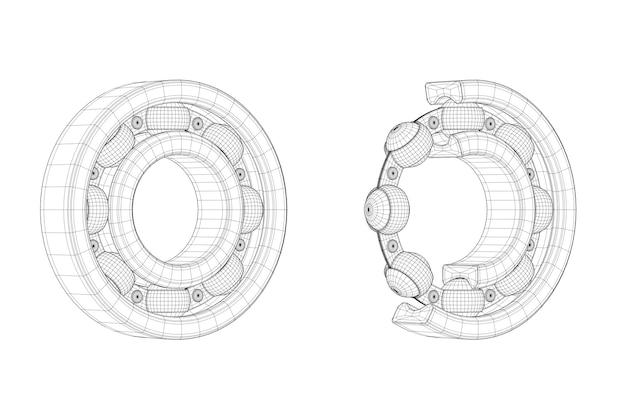Набор шариковых подшипников с линиями чертежа с одним вырезом наружу, где видны внутренние детали, на белом фоне. 3d рендеринг