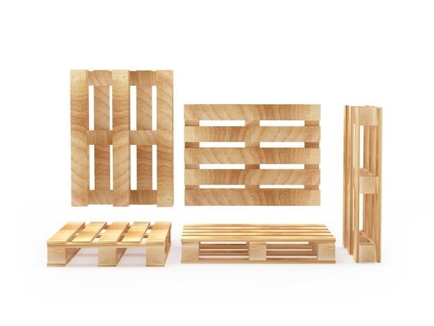 Набор пустых деревянных поддонов в разных проекциях