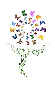 Набор летающих бабочек в форме цветка, изолированные на белом фоне. тропические насекомые. цветные мотыльки для дизайна. фото высокого качества