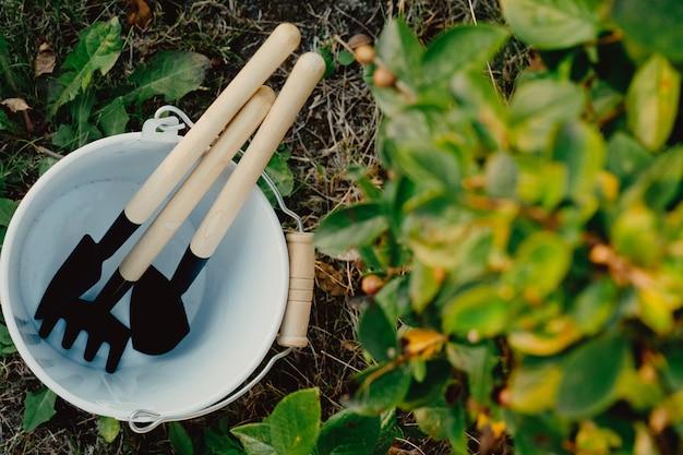 Набор садовых принадлежностей в белом ведре на фоне природы. хозтовары для сада. садовый инвентарь, грабли, лопаты. предметы домашнего обихода собраны в кучу.