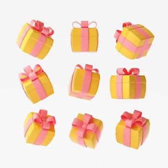 격리된 흰색 배경, 장식 선물, 깜짝 상자에 있는 선물 상자 세트. 3d 렌더링 그림
