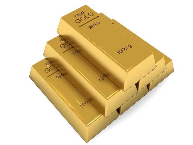 Набор золотых слитков, изолированные на белом фоне
