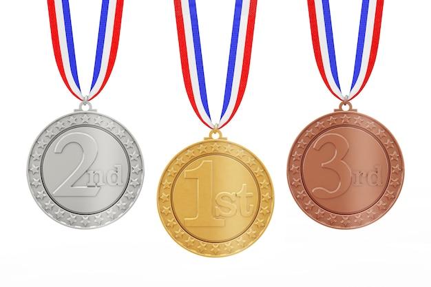 흰색 바탕에 리본이 달린 금, 은, 동상 수상자 메달 세트. 3d 렌더링