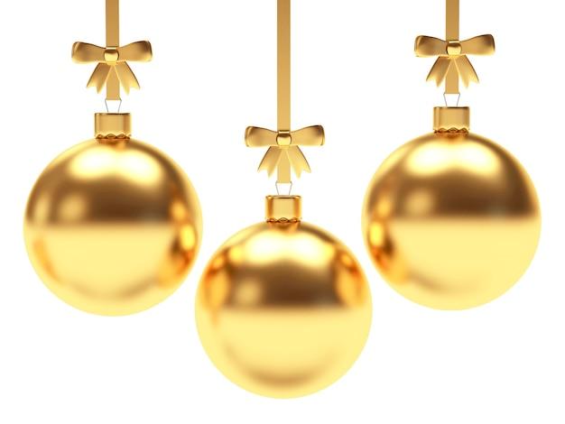 Набор золотых новогодних шаров с бантами