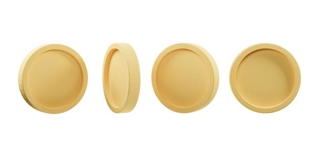 Набор золотой монеты в различной форме изолированы. 3d иллюстрации. 3d рендеринг