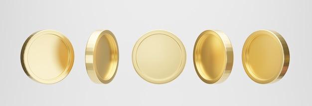 白い背景の上の黄金のコインのセットです。 3dレンダリング。