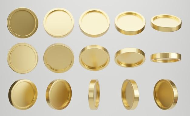 흰색 바탕에 황금 동전의 집합입니다. 3d 렌더링.