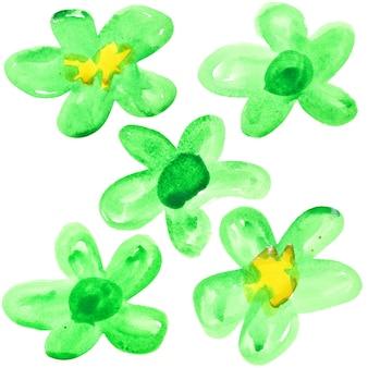 白い背景の上に分離された緑の水彩花のセット