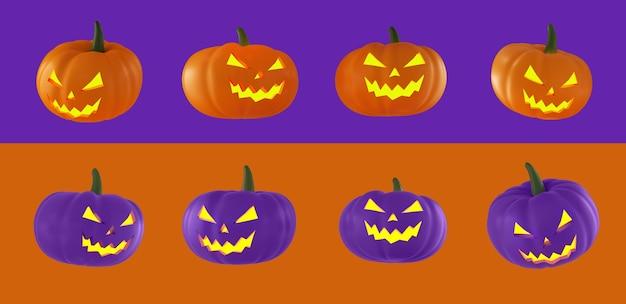 Набор оранжевых и фиолетовых тыкв на хэллоуин с огнями в их глазах на оранжевом и фиолетовом фоне. 3d-рендеринг.