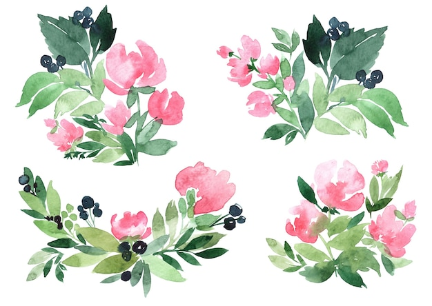 手描きの抽象的な緑の枝と花の花束の水彩イラストのセット