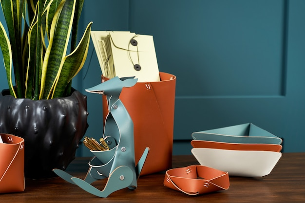 手作り革製品、キーホルダーリング、財布、財布、メモ帳、ハンドブックのセット