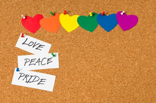 コルクに虹色の心のセット
