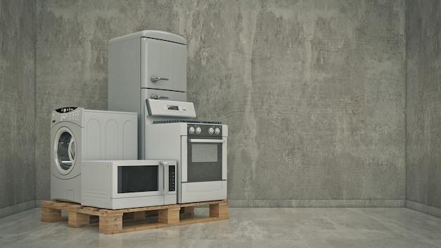 Набор бытовой кухонной техники холодильник газовая плита свч и стиральная машина.