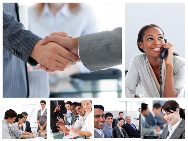 Набор изображений с деловыми людьми на работе