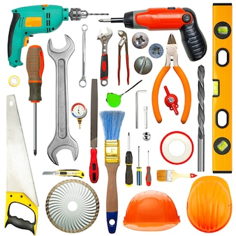 산업용 도구 세트. 흰색 절연