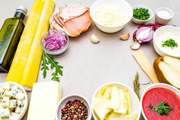 Набор ингредиентов для пирога с заварным кремом