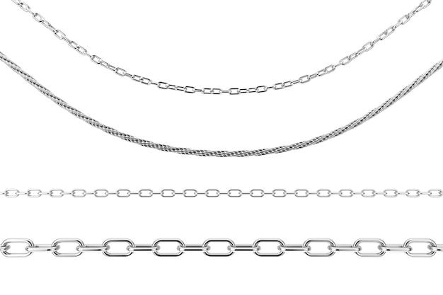 白い背景の上のさまざまな形のジュエリーシルバーチェーンのセットです。 3dレンダリング
