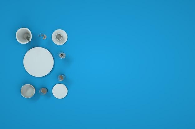 キッチンの白いきれいな皿とカトラリーのセット。 3dグラフィックス、青い背景にきれいな新しいカトラリーと食器のコレクション。皿、カップ、グラス、ワイングラス、スプーン。