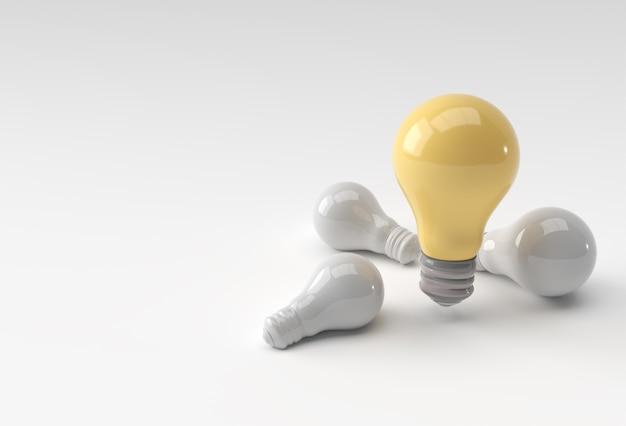 影付きの白い色の背景に電球のセット。 3dレンダリング。