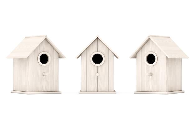 Набор маленьких деревянных скворечников на белом фоне. 3d-рендеринг.