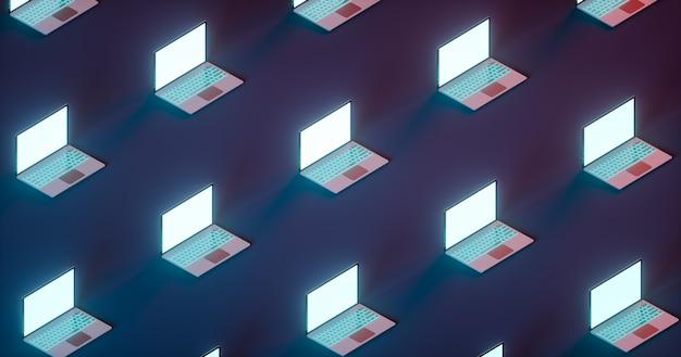 Набор многих открытых игровых ноутбуков на светло-синем и красном фоне. изометрический вид. 3d визуализация