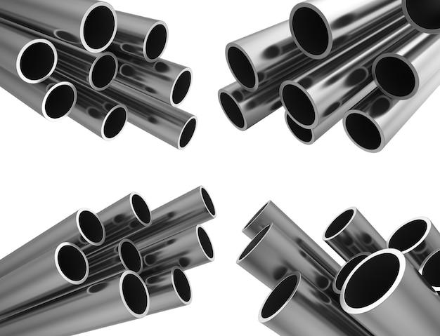 Комплект металлических труб. изолированные на белом фоне. фондовый 3d иллюстрации.