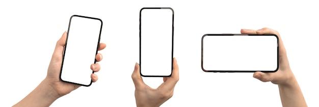 흰색 배경, 복사 공간, 클리핑 패스 사진에 격리된 손에 휴대 전화 모형 화면 세트