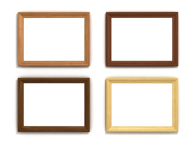 白い背景の上のさまざまなサイズの色とりどりの木製の水平フレームのセット