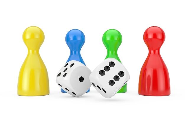 Набор макета разноцветных настольных игр пешки фигур с белыми игральными кубиками на белом фоне. 3d рендеринг