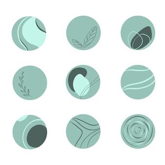 9개의 라인 아트 아이콘 세트 민트 그린 색상 추상 및 식물 원 요소의 로고 라운드