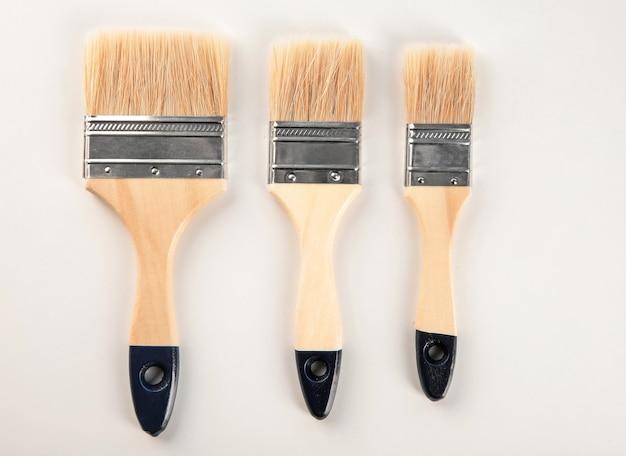 흰색 페인트 브러쉬 세트
