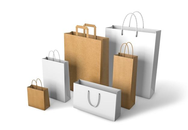 白の背景に分離された紙袋のセット白とクラフトパッケージのモックアップテンプレート