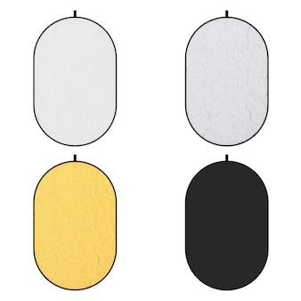Набор фотографических белых, серебряных, золотых и черных дисковых светоотражателей на белом фоне. 3d рендеринг
