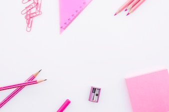 Set of pink stationery