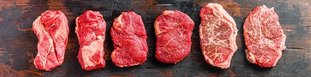 Набор сырых альтернативных сокращений говяжьих стейков