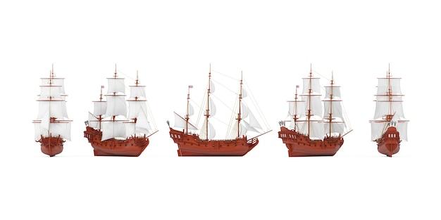 흰색 배경에 다른 보기에서 붉은 나무 빈티지 키 큰 범선, caravel, 해적선 또는 군함의 집합입니다. 3d 렌더링